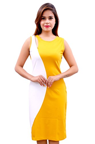 Tisoro Solid Cut Out Women's Round Neck Yellow And White Dress