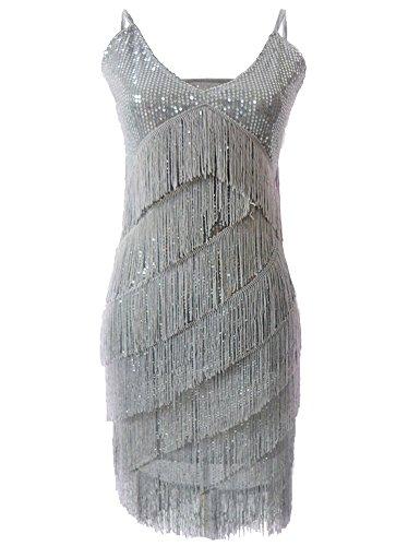 PrettyGuide Damen V Neck Deco Gatsby 1920er Pailletten Fringe Sway Flapper-Kleid Grau