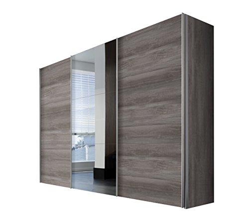 Express Möbel Schwebetürenschrank 300 cm breit mit Spiegel, Eiche Silber Nachbildung, Art Nr. 46950-635
