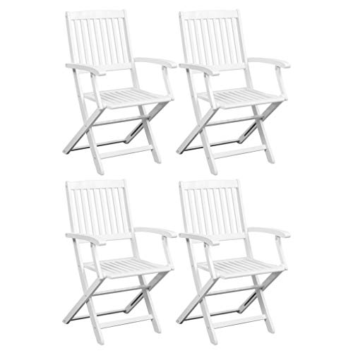 Tidyard- Esszimmerstühle 4 STK. Akazie-Massivholz Weiß Folding Dining Chairs Set of 4 White Garden Chair Acacia Solid Wood High-Backed Camping Chair