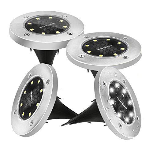 4Pcs Luces de Tierra Solares,Lacyie 8 LED Lampara Solar Exterior Luz solar...