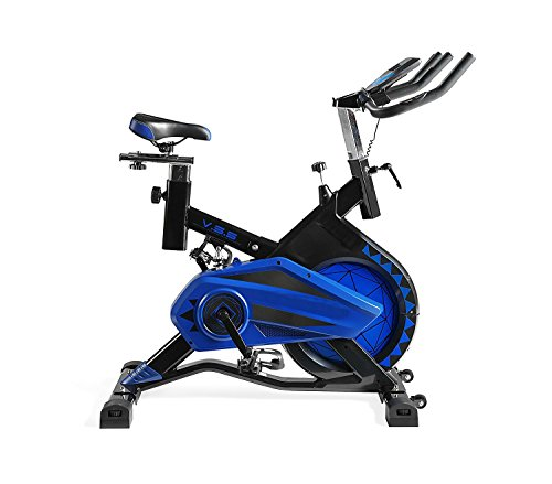 Fitness | Bicicleta de Spinning Profesional Shark Totalmente Equipada | Sistema de amortiguación VSS | Soporta hasta 140 kgs | Manillar de triathlón con pulsómetro integrado | Volante de Inercia Hasta 20 Kg | Resistencia Ajustable | Pantalla LCD con Pulsómetro | Sillín Deportivo Ergonómico con Semi - Suspensión Neumática | Completamente Regulable | Liquidación Últimas Unidades Deporte Fitness