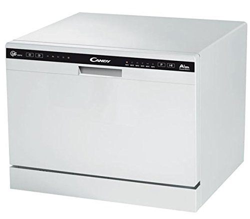 Candy CDCP 6/E Mini Lavavajillas, Altura 43,8cm, 6 Servicios, 6 Programas, 51dBA, Display Digital, Clase A+A, Color Blanco
