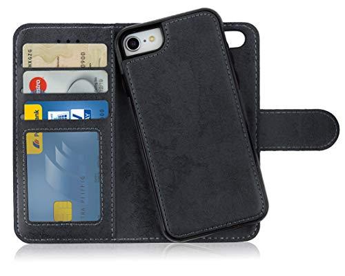 MyGadget Flip Case mit Back Cover [2 in 1] für Apple iPhone 7/8 - Magnetische Hülle in PU Leder Klapphülle - Kartenfach Schutzhülle Wallet - Schwarz -