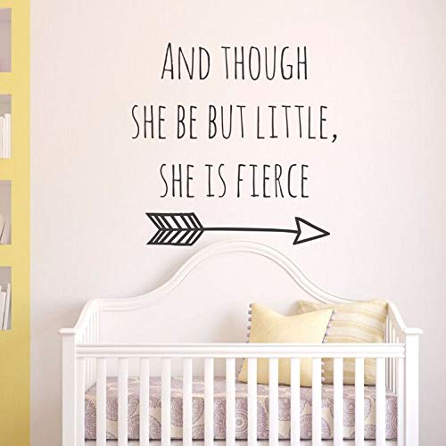 Removable Baby Girl Room Vinyl Wall Art Mural And Though She Be But Little She Is Fierce Quote Babys Wishes Wall Stickers White 42x42cm