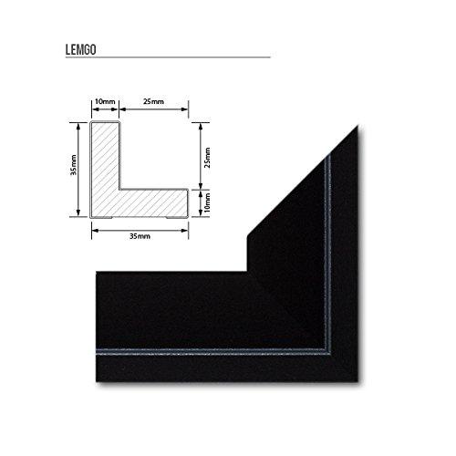 Schattenfugen - Rahmen LEMGO 70 x 100 cm Schwarz (matt) 73 verschiedene Größen Massivholz