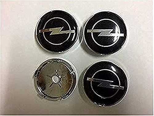 fanlinxin Vauxhall Opel de Roue en Alliage Centre Plugs, hub Capuchon Noir Lot de 4 Badges 60 mm