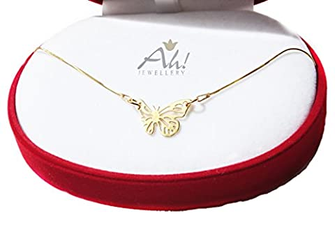 GIFT-BOXED! Women's Beautifully Detailed Celebrity Layered Style Butterfly Necklace. Made In Vermeil: 24K Gold Over Sterling Silver. 2cm Pendant & 45cm Chain. Stamped 925. 10 Year Guarantee.