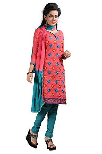 I-Brand Red Color Chanderi Fabric Embroideried Salwar - Suit (Semi-Stitched) ( New Arrival Latest Best Design Beautiful Dresses Material Collection For Women and Girl Party wear Festival wear Special Function Events Wear In Low Price With High Demand Todays Special Offer and Deals with Fancy Designer and Bollywood Collection 2017 Punjabi Anarkali Chudidar Patialas Plazo pattern Suits )  available at amazon for Rs.367