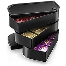 CEP 223005- Cassettiera per capsule, per caffettiera, in plastica, 23,4x 40,5x 6,0cm, colore: nero - Lipton Bustine Di Tè