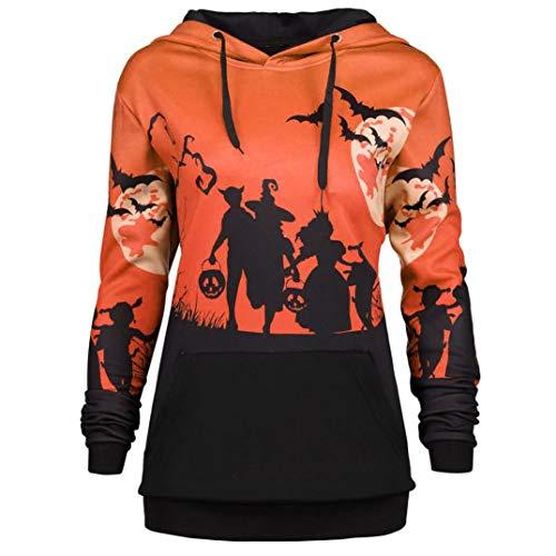 URSING Damen Pullover Frauen Retro Halloween Moon Bat Print Kordelzug Tasche Hoodie Sweatshirt mit Kapuze Kapuzenpullover mit Tunnelzug Kapuzenshirt Streetwear Halloween Kostüm (Orange,M)