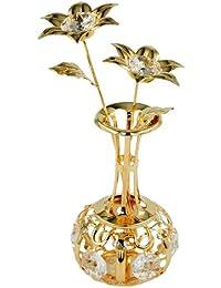 Articles en cristal Décoration Figurines Vase cristaux clairs plaqué or 120 x 50 mm