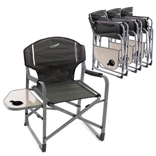 Divero 4er Set Angelstuhl Regiestuhl Campingstuhl mit Getränkehalter Ablage - Polyester Aluminium - Farbe: Rahmen hellgrau - Bespannung grün - Kinder-tv-tisch