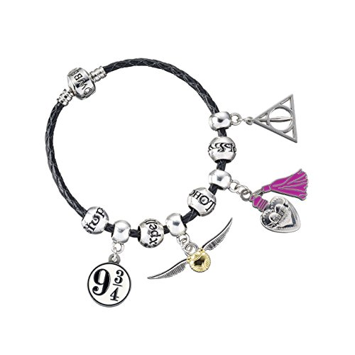 Harry Potter Large Black Leather Charm Bracelet with Charms in Gift Box. Bracelet available in choice of sizes (20)