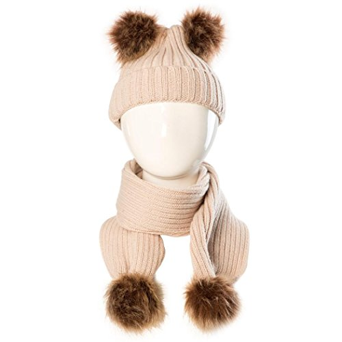 sunnymi Baby Hut+Schal Warmen Kinderschal Mädchen Jungen Unisex Winter Herbst Winter (Doppelt Ball, Khaki) (Vintage Shorts Bettwäsche)