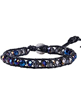 KELITCH Armband Facettieren HalbHalbedelsteinee Kristall Perlen Armbänder
