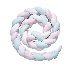 Idea Regalo - YDFYX intrecciato paraurti, annodato e imbottito, per neonati, decorazione per stanza del bebè, regalo per neonati, biancheria da letto decorativa (Bianco + verde + rosa, 2m)
