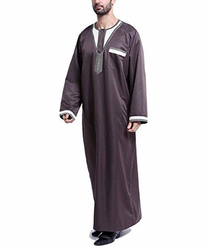 Preisvergleich Produktbild Swallowuk Herren Muslim Mittlerer Osten Saudi Stickerei Robe Islamisch Arabisch Kaftan Lange Ärmel Pakistan Kandoura Volle Länge Traditionell Ethnische Kleidung (XXL,  Braun)