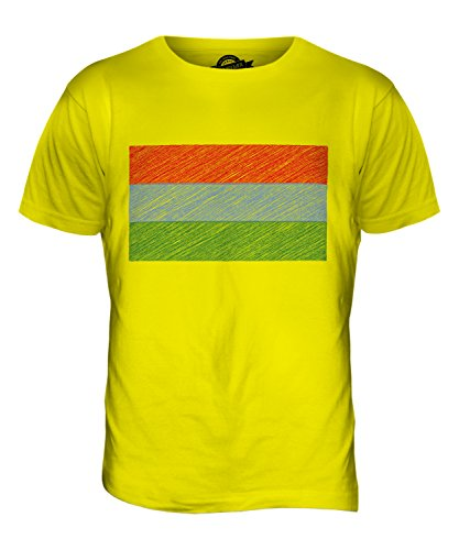 CandyMix Karelien Kritzelte Flagge Herren T Shirt Zitronengelb