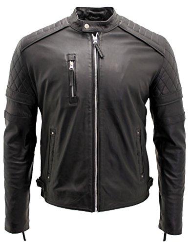 Männer stilvolle Schlank Fit gesteppte Schwarz e Bikerjacke aus Leder 4XL