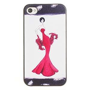 acheter Sexy Girl in Red dure de PC de modèle de robe de soirée avec cadre noir pour iPhone 4/4S