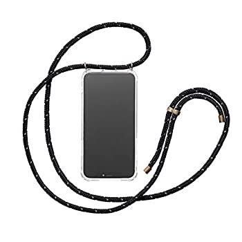 KNOK Crossbody case for Huawei Mate 20 - Necklace Mobile Phone Cover with Cord Strap - Lanyard Case Holder - Mobile Phone Collar (Reflect Black)