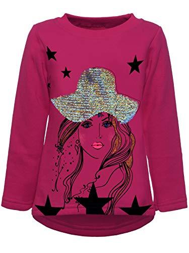 BEZLIT Kinder Pullover Mädchen Wende Pailletten Katzen Sweatshirt Meliert 22857 Pink 128 -