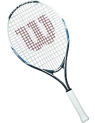 Wilson Racchetta da tennis per bambini, Per gioco in tutte le aree, Per principianti, US OPEN 25, Misura 9-12 anni, Grigio/Bianco/Blu, WRT21030U