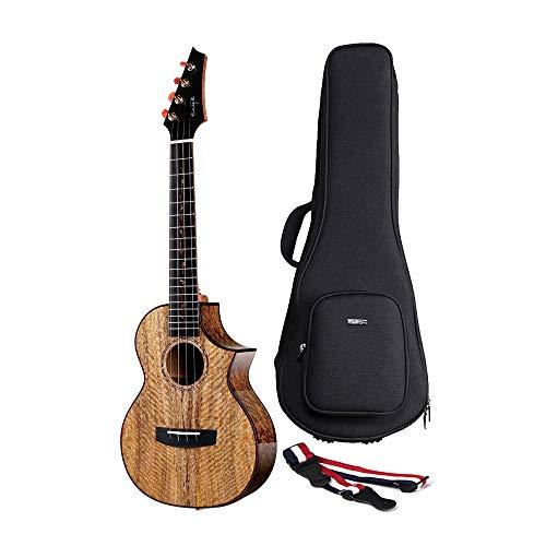 Enya 26Inch Alle 5A Solide Mango Holz Acoustic Electric Tenor Ukulele EQ mit Doppelter Aufnahme 20mm Padded Ukulele Fall für Profi-Player - Solide Mango Holz