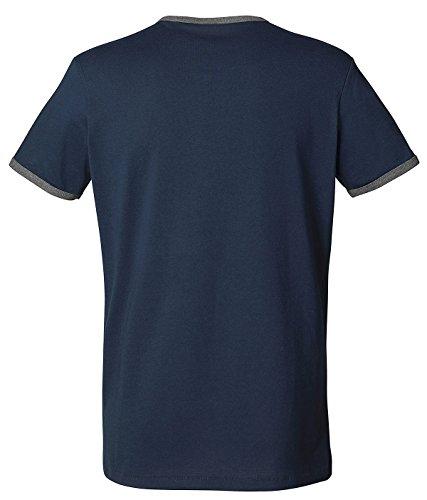 Herren T-Shirt Aus 100% Bio-Baumwolle mit Rundhalsausschnitt. Kurzarm Shirt mit Einfassung in Kontrastfarben, Herren Bio T-Shirt, Herren Bio T Shirt, Herren Bio Shirt, Herren T Shirt Biobaumwolle Navy/Mid Heather Grey