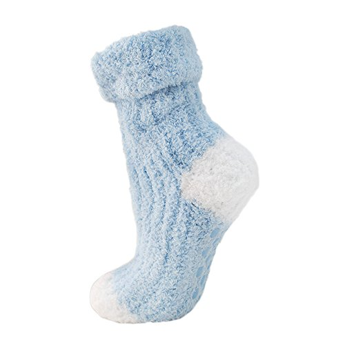Fluffy Baby Blue Bed Socks