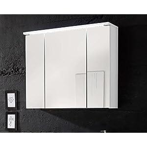 Avanti Trendstore - Silas - Spiegelschrank mit 3 Türen und LED-Beleuchtung, in mattweißem Holzdekor, BHT ca. 80x68x23 cm