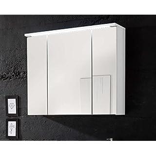 Avanti Trendstore - Silas - Spiegelschrank mit 3 Türen und LED-Beleuchtung, in weiß Hochglanz/matt Dekor, BHT ca. 80x68x23 cm