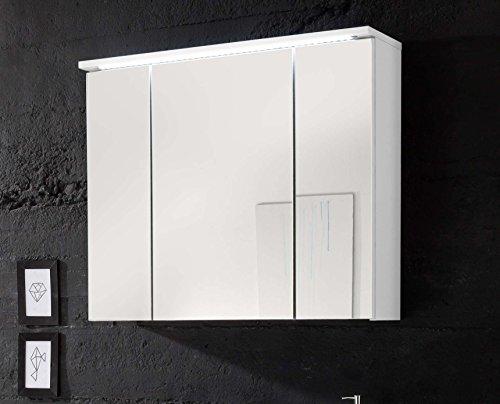 #Avanti Trendstore – Silas – Spiegelschrank mit 3 Türen und LED-Beleuchtung, in weiß Hochglanz/matt Dekor, BHT ca. 80x68x23 cm#