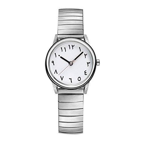 Herren-uhren-elastisches Band (Souarts Herren Armbanduhr Einfaches Design Geschäfts Casual Quarz Uhr Elastisches Armband mit Batterie Silber Farbe Band Weiß Zifferblatt)