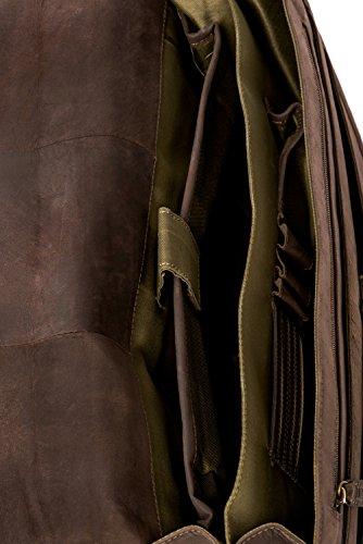 LEABAGS Toulouse Aktentasche aus echtem Büffel-Leder im Vintage Look - Muskat Muskat