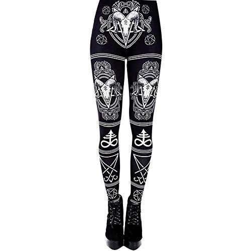 YEBIRAL Damen Leggins Hose Yoga Sporthose mit Druck Muster Vintage Classics Yogahose Tights Laufhose - Stretch Hohe Taille(M,Schwarz) Super Hip Flare Jeans
