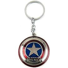 Llavero metálico del escudo del Capitán América Lzy-store, con cadena de eslabones y anilla, metal, Multicolor, plateado