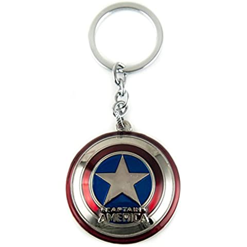 Lzy-store Capitán América del Shield Llaveros Llavero Bolsa de accesorios Jewelrys (Anillo de metal con condicionamientos), metal, Multicolor, plateado