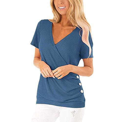Vimoli Blusen Damen Knopf Kurzarm Einfarbig T-Shirt Casual T-Shirts V-Ausschnitt Tunika Tops Bluse(A Marine,De-44/CN-XXL)