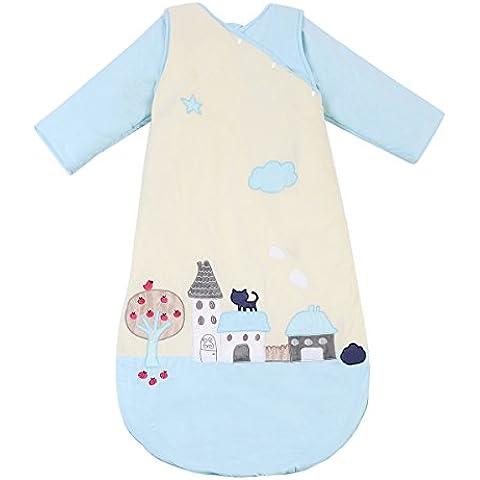 """CHERRY Autumn """"per neonati, maniche lunghe,-Sacco nanna indossabile copertina, motivo: gatto, colore: blu, in cotone e spesso trapuntato in cotone, da 3 a 6 mesi, taglia 2 anni, 1-5 anni, 3-6 anni"""