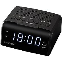 Sunstech FRD35UBK - Radio despertador (alarma dual, pantalla LED, AM/FM, USB, conexión auriculares), color negro