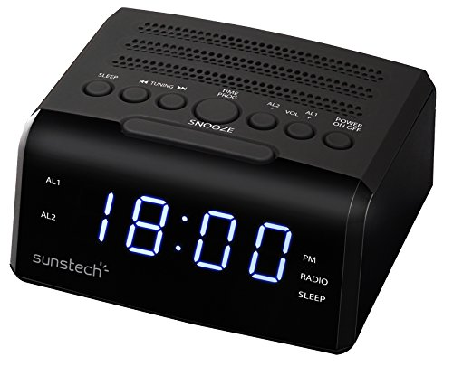 Sunstech FRD35UBK - Radio despertador (alarma dual, pantalla LED, AM/F