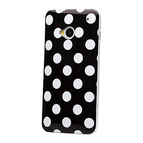 iCues HTC One M7 | Polka Dots TPU Case Schwarz | [Display Schutzfolie Inklusive] Damen Frauen Mädchen Silikon Gel Motiv Muster Schutzhülle Hülle Cover