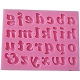 LYNCH 26 Bajo-alfa en inglés Cartas de silicona 3D del molde antiadherente herramientas de la torta,Rosa