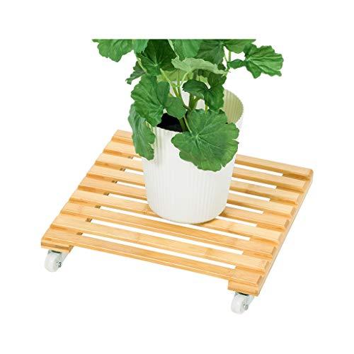 KANGSHENGBlumentreppe für Bambus Holz Pflanze Stehen Blumentopf Basis bewegen Rad Holz Blumentopf Halterung für Innen- und Außenhof Garten Terrasse Balkon Schlafzimmer (größe : 30cm) -