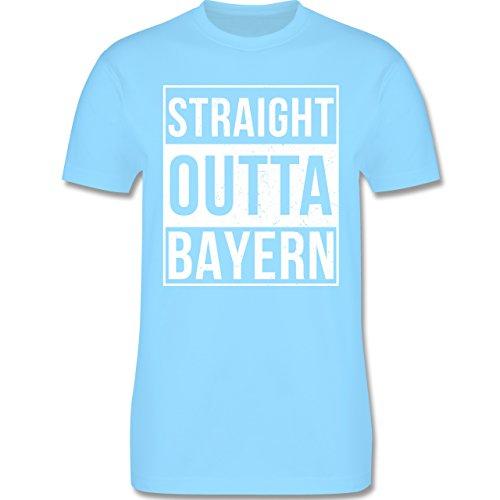 Bayern Männer - Straight Outta Bayern Weiss - L190 Schlichtes Männer Shirt Hellblau