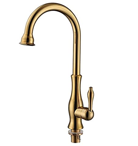 DZW Modern Gold-plated Brass Classic Single Handle Swivel Single Lever Kitchen Faucet