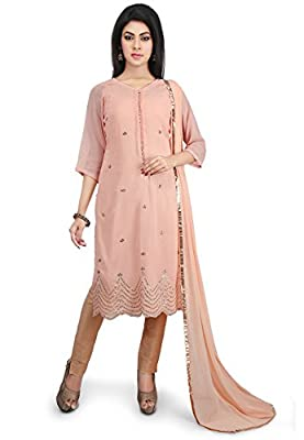 Utsav Fashion Embroidered Georgette Pakistani Suit in Peach