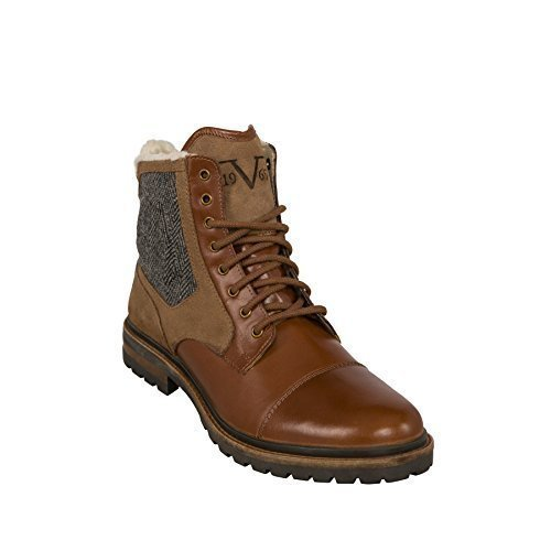 19V69 VERSACE 1969 Winter Boots Handmade Leather Boots with Real merino wool lining Light Brown, 43